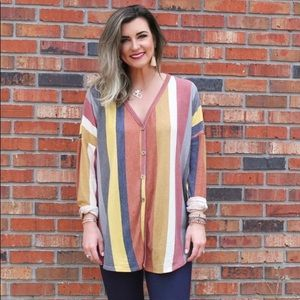 Candy Striped Button Down Top